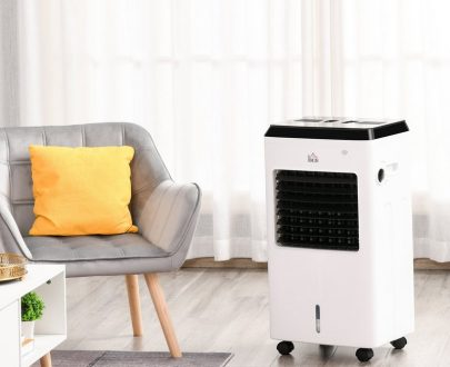 HOMCOM 3-IN-1 Portable Air Cooler Heater Humidifier with Ice Crystal Box 3 Speed 3 Mode 7.5 Hour Timer Remote Controller Included White 824-027 5056399148828