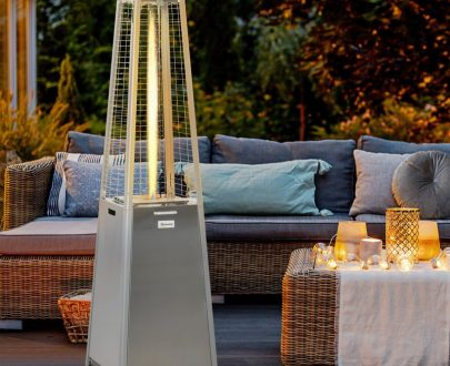 Outsunny 11.2KW Outdoor Patio Gas Heater Stainless Steel Pyramid Propane Heater Garden Freestanding Tower Heater with Wheels, Dust Cover, Silver 842-193 5056534513702