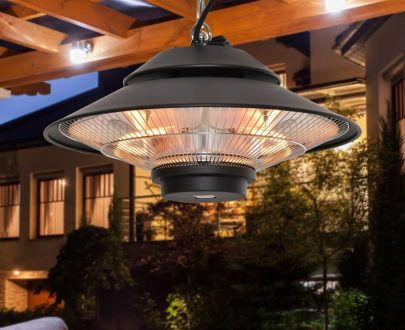 Outsunny 1500W Electric Patio Heater Aluminium Ceiling Mounted Heater with Infrared Remote Control for Indoor and Outdoor Use, Black 842-181 5056534504960