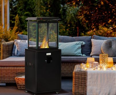 Outsunny 8KW Outdoor Patio Gas Heater Freestanding Garden Heater Real Flame Propane Heater with Wheels, Dust Cover, Regulator and Hose, Black 842-189 5056534513955