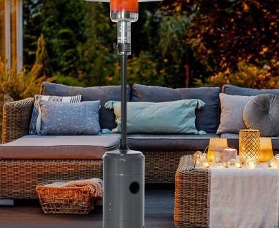 Outsunny 12.5KW Outdoor Gas Patio Heater Freestanding Propane Heater with Wheels, Dust Cover, Regulator and Hose, Charcoal Grey 842-186 5056534511999